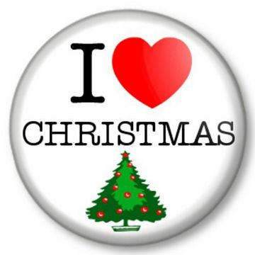 I Love / Heart Christmas Pinback Button Badge Xmas Tree Santa Father Geek Presents